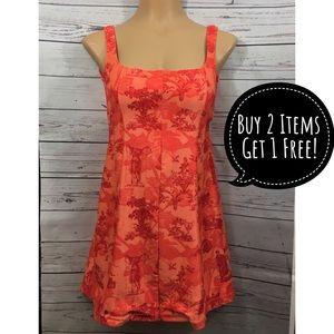 Nike Orange Toile Pattern Zip Tennis Dress